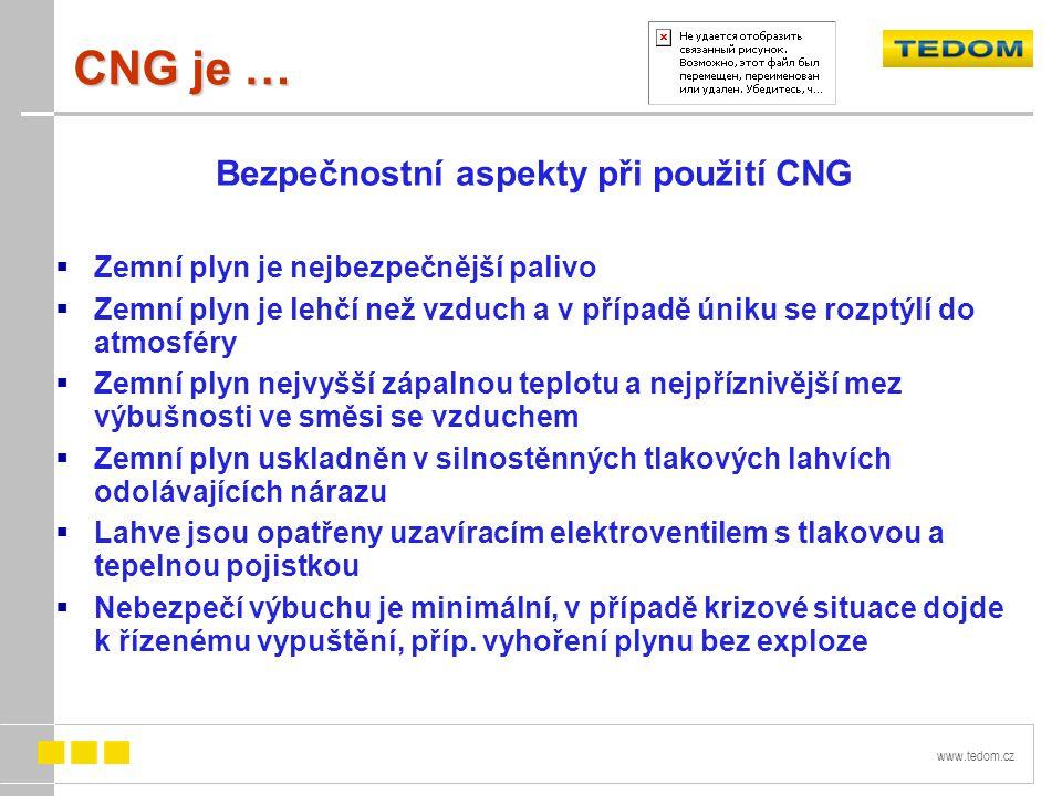 www.tedom.cz CNG je … Bezpečnostní aspekty při použití CNG  Zemní plyn je nejbezpečnější palivo  Zemní plyn je lehčí než vzduch a v případě úniku se rozptýlí do atmosféry  Zemní plyn nejvyšší zápalnou teplotu a nejpříznivější mez výbušnosti ve směsi se vzduchem  Zemní plyn uskladněn v silnostěnných tlakových lahvích odolávajících nárazu  Lahve jsou opatřeny uzavíracím elektroventilem s tlakovou a tepelnou pojistkou  Nebezpečí výbuchu je minimální, v případě krizové situace dojde k řízenému vypuštění, příp.