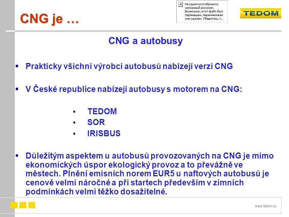 www.tedom.cz CNG je … CNG a autobusy  Prakticky všichni výrobci autobusů nabízejí verzi CNG  V České republice nabízejí autobusy s motorem na CNG: TEDOM SOR IRISBUS  Důležitým aspektem u autobusů provozovaných na CNG je mimo ekonomických úspor ekologický provoz a to převážně ve městech.
