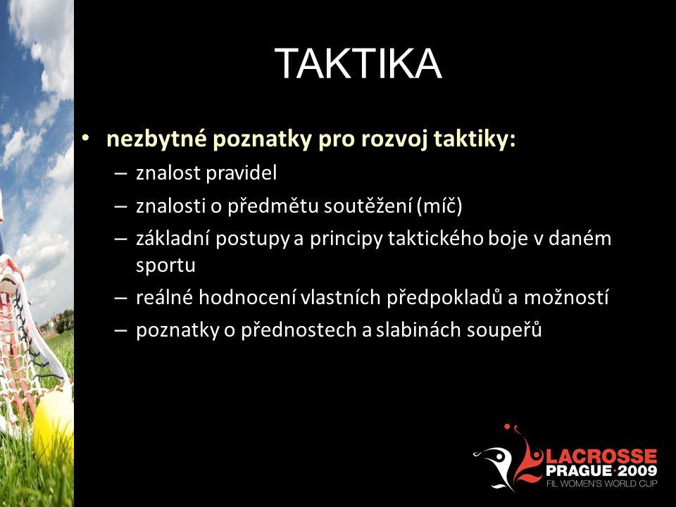 TAKTIKA nezbytné poznatky pro rozvoj taktiky: – znalost pravidel – znalosti o předmětu soutěžení (míč) – základní postupy a principy taktického boje v