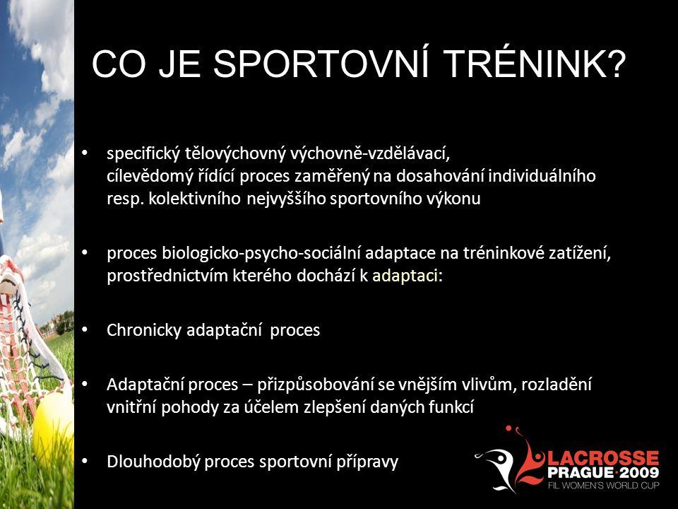 CO JE SPORTOVNÍ TRÉNINK? Osvojování techniky a taktiky příslušné sportovní disciplín specifický tělovýchovný výchovně-vzdělávací, cílevědomý řídící pr