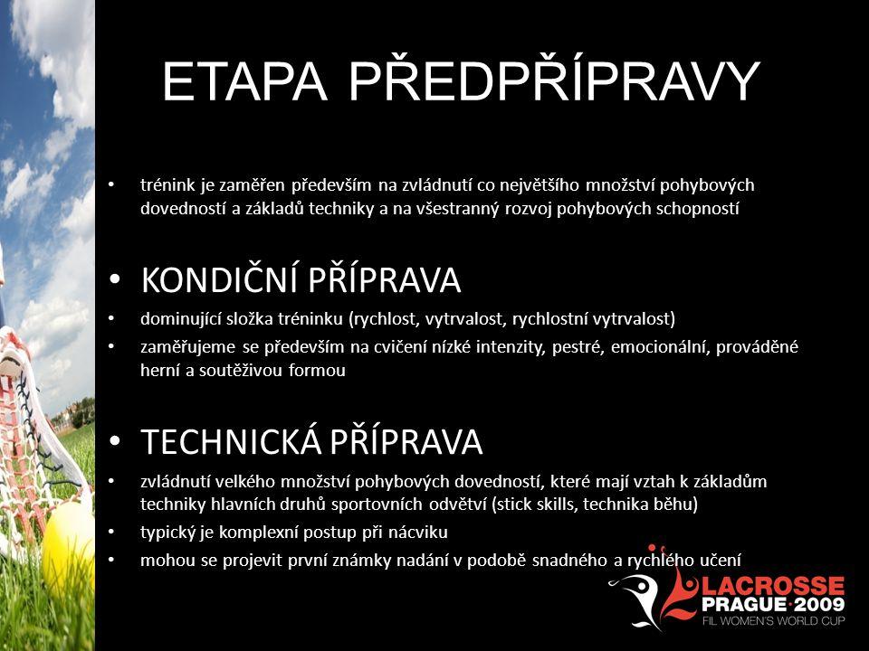 ETAPA PŘEDPŘÍPRAVY trénink je zaměřen především na zvládnutí co největšího množství pohybových dovedností a základů techniky a na všestranný rozvoj po