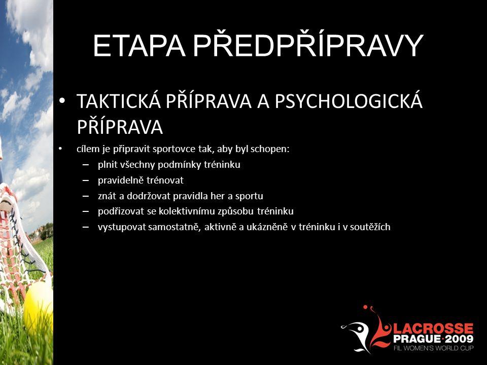 ETAPA PŘEDPŘÍPRAVY TAKTICKÁ PŘÍPRAVA A PSYCHOLOGICKÁ PŘÍPRAVA cílem je připravit sportovce tak, aby byl schopen: – plnit všechny podmínky tréninku – p