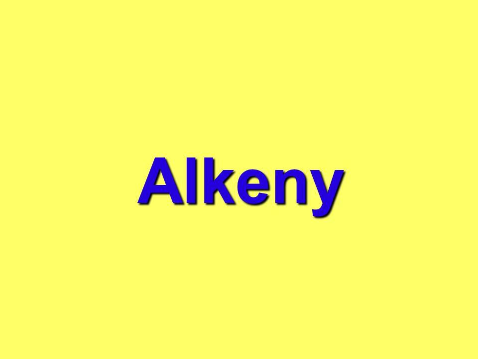 Příklady alkenů Ethylen ( Ethen ) C 2 H 4 - bezbarvý plyn s nasládlým zápachem - zdraví škodlivý - o trochu lehčí než vzduch - hořlavá látka, se vzduchem tvoří výbušnou směs - získává se při zpracování ropy - v přírodě jako fytohormon v rostlinách ( koriguje dozrávání plodů ) - důležitá surovina organických výrob: ethanol ( výroba syntetického alkoholu ), kyselina octová, vinylchlorid, polyethylen ( polymer ethylenu, běžně používaný plast )