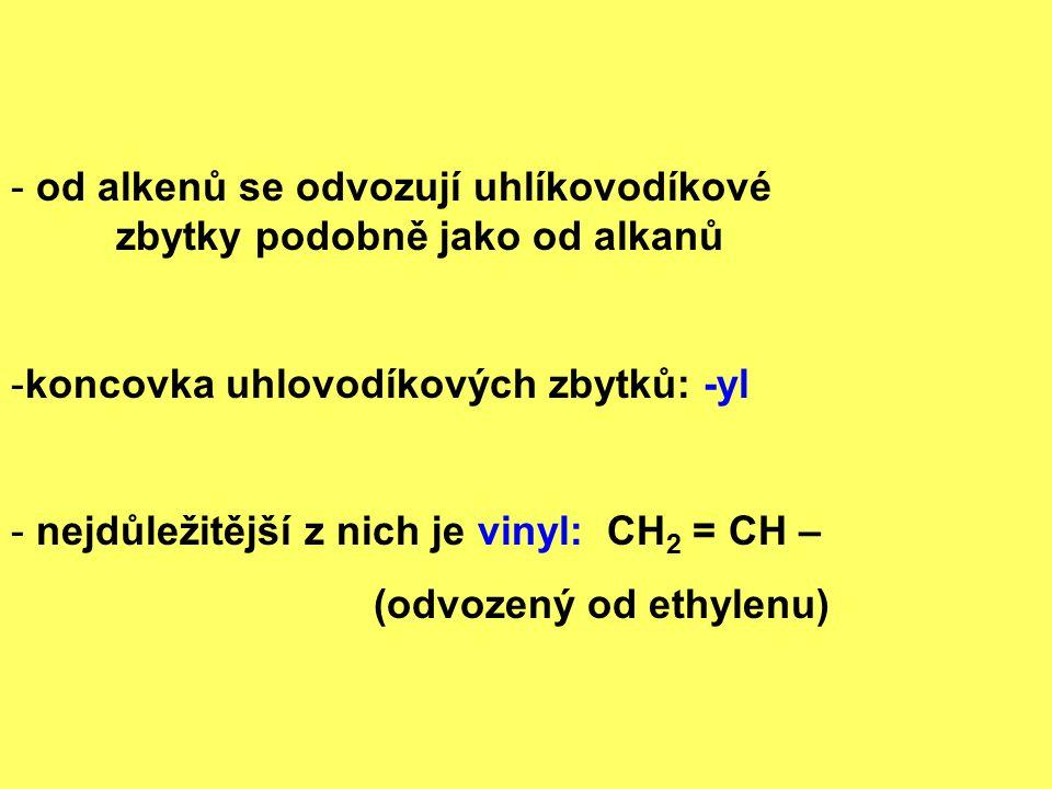 Zástupci dienů ( alkadieny ) - ty, které obsahují dvojné vazby -nejvýznamnější: ty, které mají dvojné vazby v konjugovaném systému např.