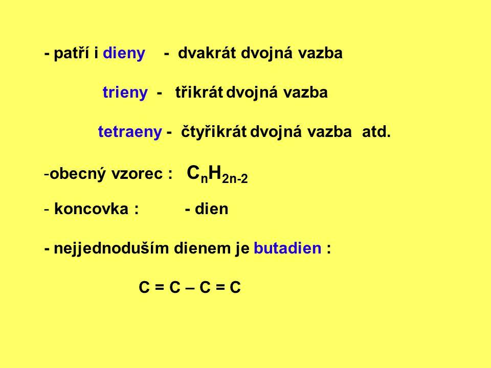 Dvojná vazba v molekule způsobuje : zkrácení vzdálenosti mezi atomy, které jsou jí vázány : C – C C = C 0,15 nm 0, 13 nm