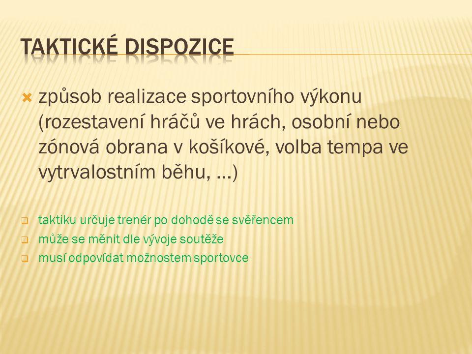  způsob realizace sportovního výkonu (rozestavení hráčů ve hrách, osobní nebo zónová obrana v košíkové, volba tempa ve vytrvalostním běhu, …)  takti