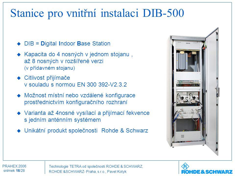 Technologie TETRA od společnosti ROHDE & SCHWARZ, ROHDE &SCHWARZ- Praha, s.r.o., Pavel Kotyk PRAHEX 2006 snímek 16/28  DIB = Digital Indoor Base Stat