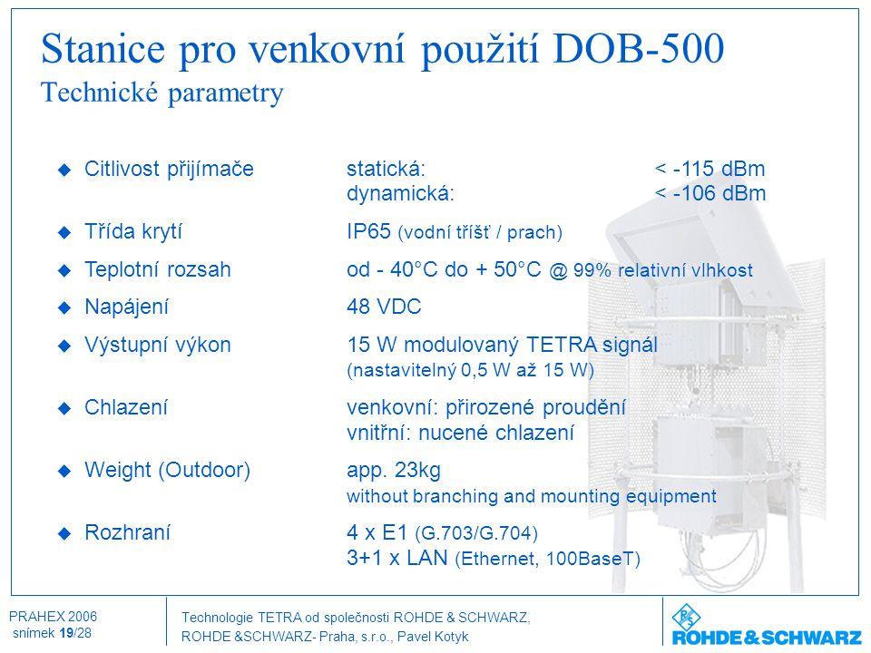 Technologie TETRA od společnosti ROHDE & SCHWARZ, ROHDE &SCHWARZ- Praha, s.r.o., Pavel Kotyk PRAHEX 2006 snímek 19/28 Stanice pro venkovní použití DOB