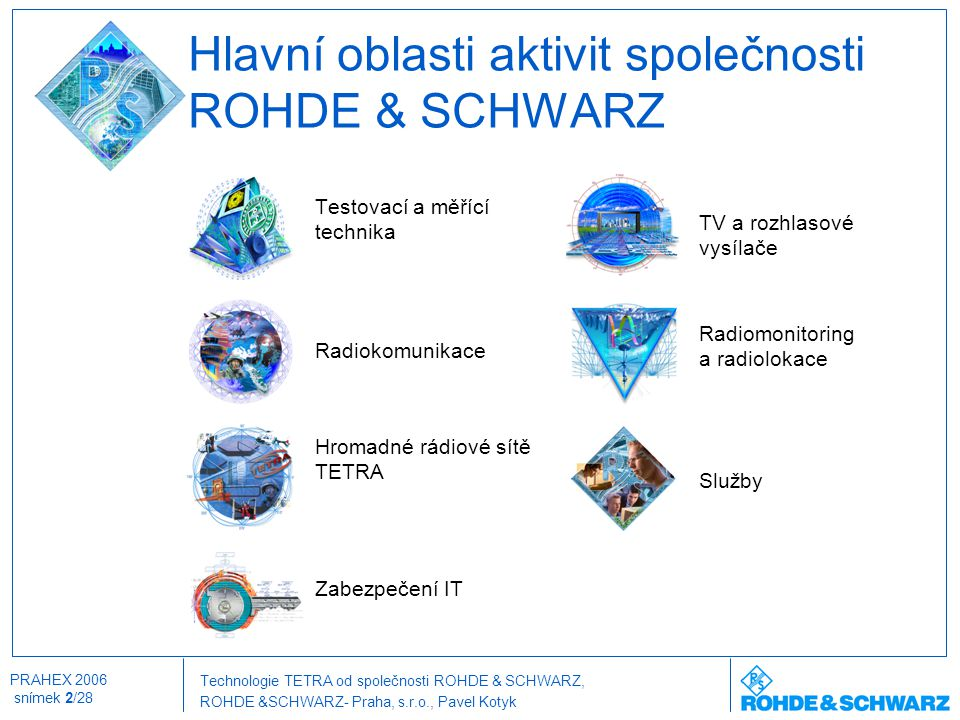 Technologie TETRA od společnosti ROHDE & SCHWARZ, ROHDE &SCHWARZ- Praha, s.r.o., Pavel Kotyk PRAHEX 2006 snímek 2/28 Hlavní oblasti aktivit společnost