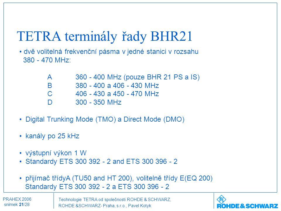 Technologie TETRA od společnosti ROHDE & SCHWARZ, ROHDE &SCHWARZ- Praha, s.r.o., Pavel Kotyk PRAHEX 2006 snímek 21/28 TETRA terminály řady BHR21 dvě v