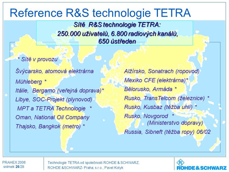 Technologie TETRA od společnosti ROHDE & SCHWARZ, ROHDE &SCHWARZ- Praha, s.r.o., Pavel Kotyk PRAHEX 2006 snímek 26/28 Reference R&S technologie TETRA