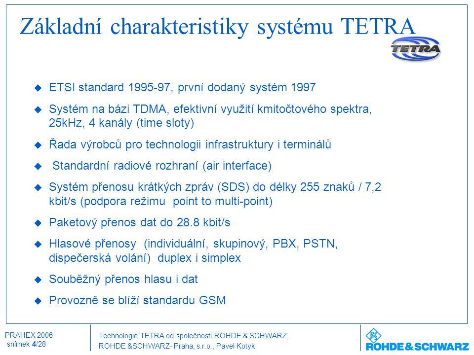 Technologie TETRA od společnosti ROHDE & SCHWARZ, ROHDE &SCHWARZ- Praha, s.r.o., Pavel Kotyk PRAHEX 2006 snímek 5/28 Typické topologie sítí Lineární topologie Pevné trasy Mikrovlnné n*2Mbit/s trasy Smíšená topologieKruhová topologie EthernetX.25AnalogoovéPCM 30 / G.703 S 0 /S 2M PCM30 / G.703 jiné hromadné radiové sítě LAN PDN ISDN PSTN PABX DECT SCN PCM 30 / G.703 S 0 /S 2M