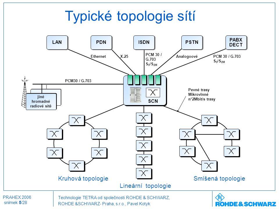 Technologie TETRA od společnosti ROHDE & SCHWARZ, ROHDE &SCHWARZ- Praha, s.r.o., Pavel Kotyk PRAHEX 2006 snímek 5/28 Typické topologie sítí Lineární t