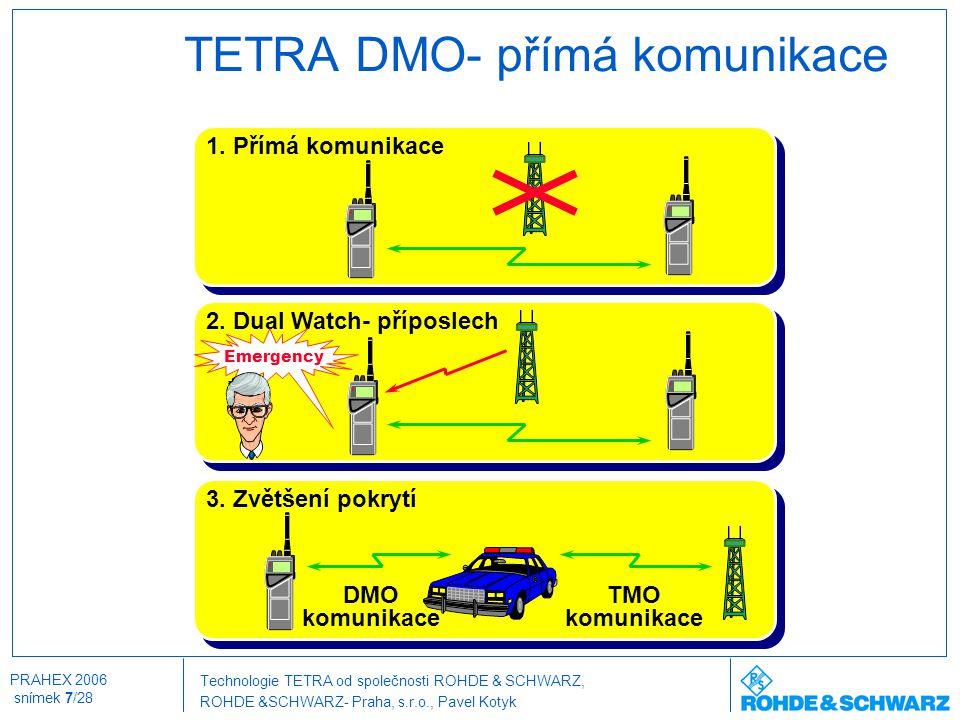 Technologie TETRA od společnosti ROHDE & SCHWARZ, ROHDE &SCHWARZ- Praha, s.r.o., Pavel Kotyk PRAHEX 2006 snímek 7/28 TETRA DMO- přímá komunikace 1. Př