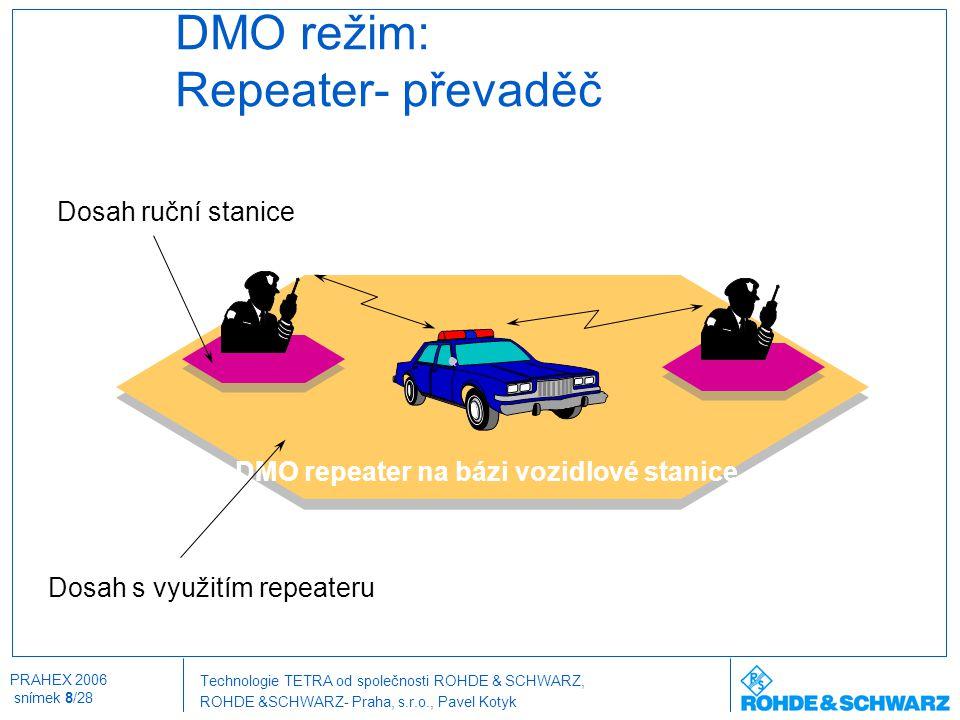 Technologie TETRA od společnosti ROHDE & SCHWARZ, ROHDE &SCHWARZ- Praha, s.r.o., Pavel Kotyk PRAHEX 2006 snímek 19/28 Stanice pro venkovní použití DOB-500 Technické parametry  Citlivost přijímačestatická:< -115 dBm dynamická:< -106 dBm  Třída krytíIP65 (vodní tříšť / prach)  Teplotní rozsahod - 40°C do + 50°C @ 99% relativní vlhkost  Napájení48 VDC  Výstupní výkon15 W modulovaný TETRA signál (nastavitelný 0,5 W až 15 W)  Chlazení venkovní: přirozené proudění vnitřní: nucené chlazení  Weight (Outdoor)app.