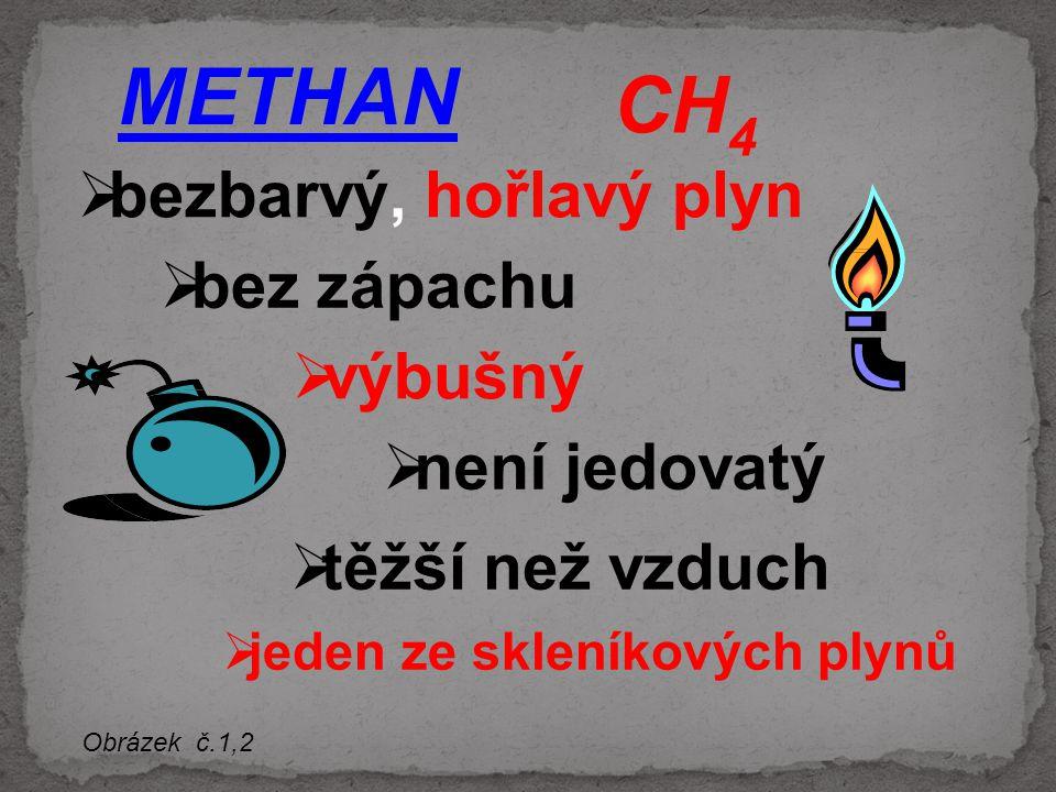 METHAN bbezbarvý, hořlavý plyn CH 4 bbez zápachu vvýbušný nnení jedovatý jjeden ze skleníkových plynů Obrázek č.1,2 ttěžší než vzduch