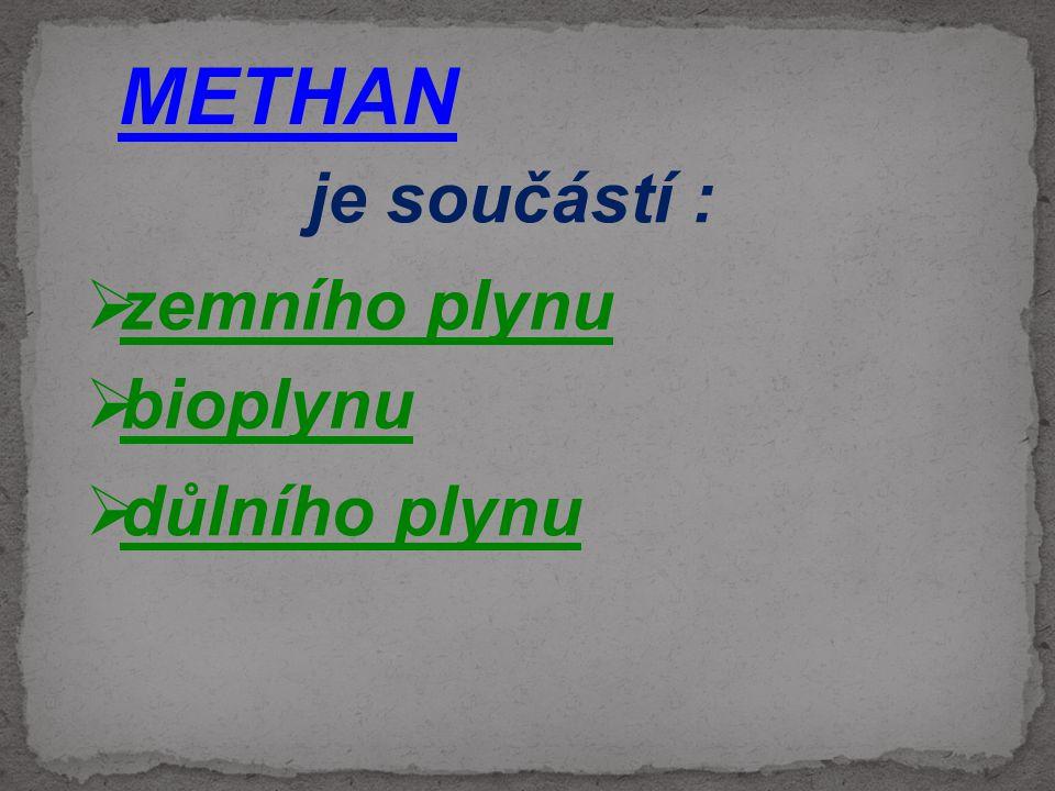 METHAN je součástí :  zemního plynu  důlního plynu  bioplynu