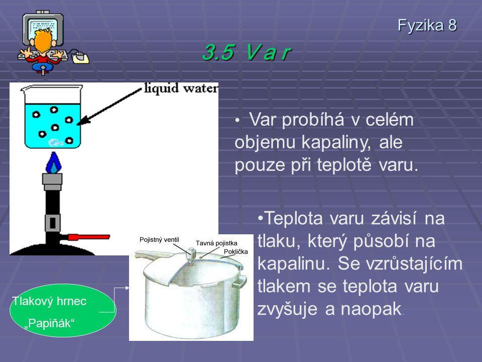 Fyzika 8 3.5 V a r Var probíhá v celém objemu kapaliny, ale pouze při teplotě varu.