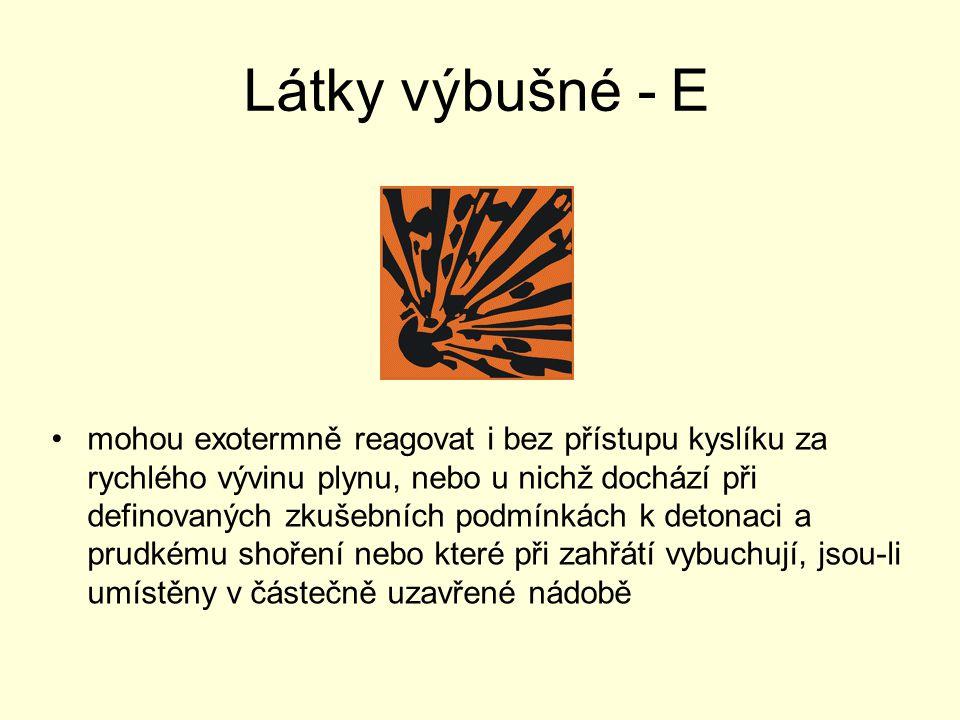 Látky výbušné - E mohou exotermně reagovat i bez přístupu kyslíku za rychlého vývinu plynu, nebo u nichž dochází při definovaných zkušebních podmínkác