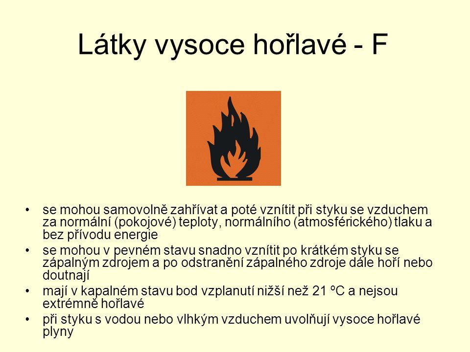 Látky vysoce hořlavé - F se mohou samovolně zahřívat a poté vznítit při styku se vzduchem za normální (pokojové) teploty, normálního (atmosférického)