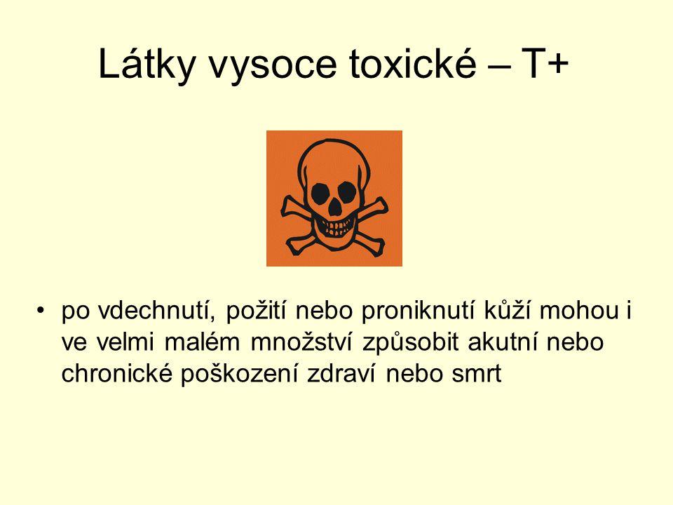 Látky toxické - T po vdechnutí, požití nebo proniknutí kůží mohou i v malém množství způsobit akutní nebo chronické poškození zdraví nebo smrt