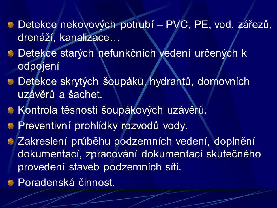 Detekce nekovových potrubí – PVC, PE, vod.