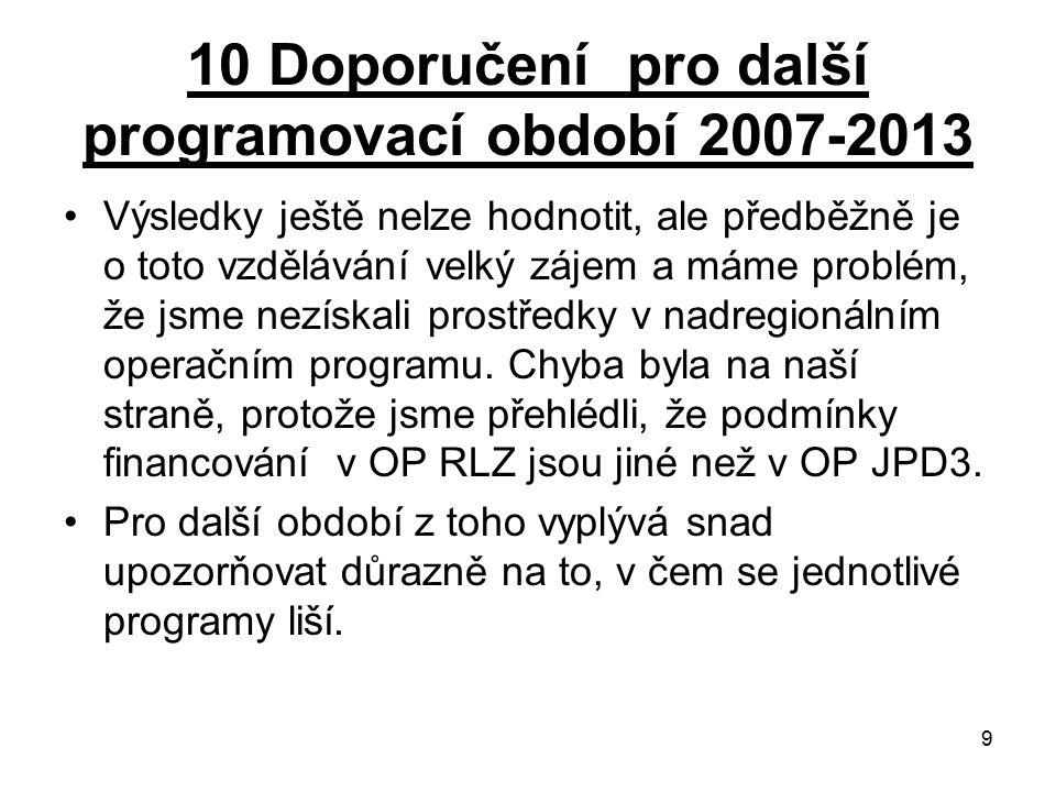 9 10 Doporučení pro další programovací období 2007-2013 Výsledky ještě nelze hodnotit, ale předběžně je o toto vzdělávání velký zájem a máme problém, že jsme nezískali prostředky v nadregionálním operačním programu.