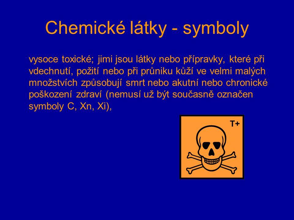 Chemické látky - symboly vysoce toxické; jimi jsou látky nebo přípravky, které při vdechnutí, požití nebo při průniku kůží ve velmi malých množstvích