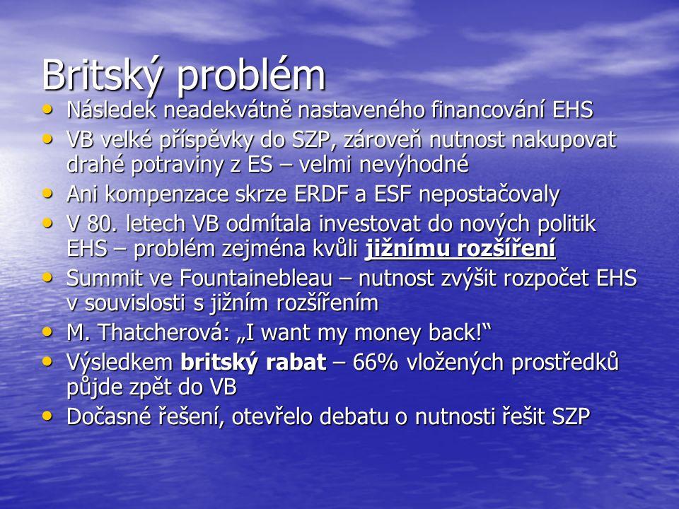 Britský problém Následek neadekvátně nastaveného financování EHS Následek neadekvátně nastaveného financování EHS VB velké příspěvky do SZP, zároveň nutnost nakupovat drahé potraviny z ES – velmi nevýhodné VB velké příspěvky do SZP, zároveň nutnost nakupovat drahé potraviny z ES – velmi nevýhodné Ani kompenzace skrze ERDF a ESF nepostačovaly Ani kompenzace skrze ERDF a ESF nepostačovaly V 80.