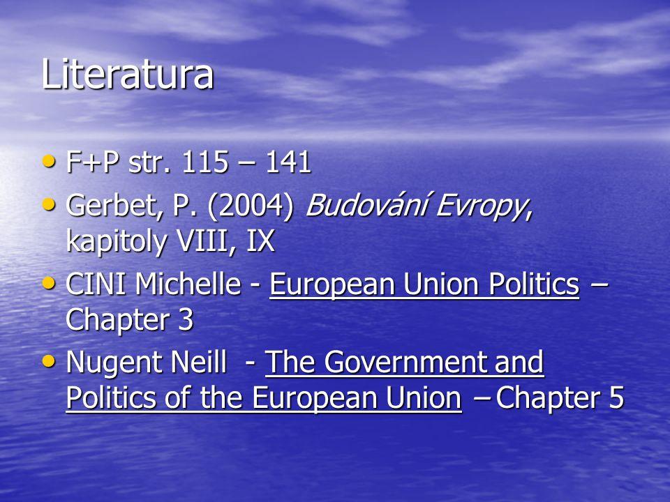 Literatura F+P str. 115 – 141 F+P str. 115 – 141 Gerbet, P. (2004) Budování Evropy, kapitoly VIII, IX Gerbet, P. (2004) Budování Evropy, kapitoly VIII