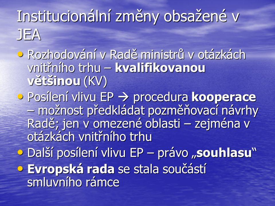 Institucionální změny obsažené v JEA Rozhodování v Radě ministrů v otázkách vnitřního trhu – kvalifikovanou většinou (KV) Rozhodování v Radě ministrů