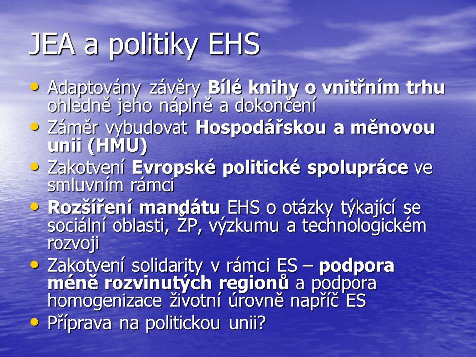 JEA a politiky EHS Adaptovány závěry Bílé knihy o vnitřním trhu ohledně jeho náplně a dokončení Adaptovány závěry Bílé knihy o vnitřním trhu ohledně jeho náplně a dokončení Záměr vybudovat Hospodářskou a měnovou unii (HMU) Záměr vybudovat Hospodářskou a měnovou unii (HMU) Zakotvení Evropské politické spolupráce ve smluvním rámci Zakotvení Evropské politické spolupráce ve smluvním rámci Rozšíření mandátu EHS o otázky týkající se sociální oblasti, ŽP, výzkumu a technologickém rozvoji Rozšíření mandátu EHS o otázky týkající se sociální oblasti, ŽP, výzkumu a technologickém rozvoji Zakotvení solidarity v rámci ES – podpora méně rozvinutých regionů a podpora homogenizace životní úrovně napříč ES Zakotvení solidarity v rámci ES – podpora méně rozvinutých regionů a podpora homogenizace životní úrovně napříč ES Příprava na politickou unii.