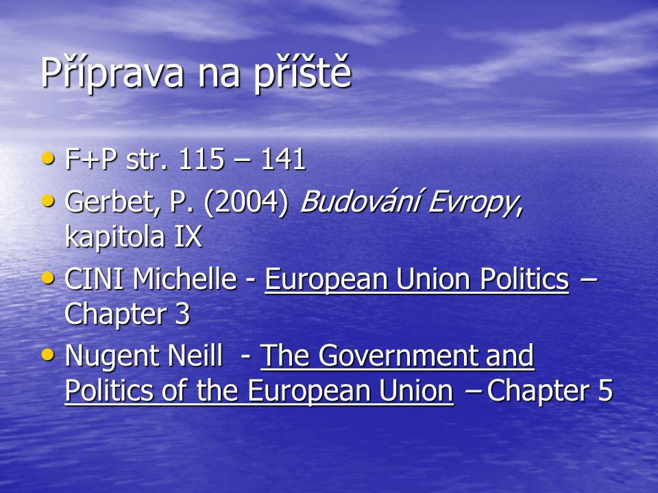 Příprava na příště F+P str. 115 – 141 F+P str. 115 – 141 Gerbet, P. (2004) Budování Evropy, kapitola IX Gerbet, P. (2004) Budování Evropy, kapitola IX