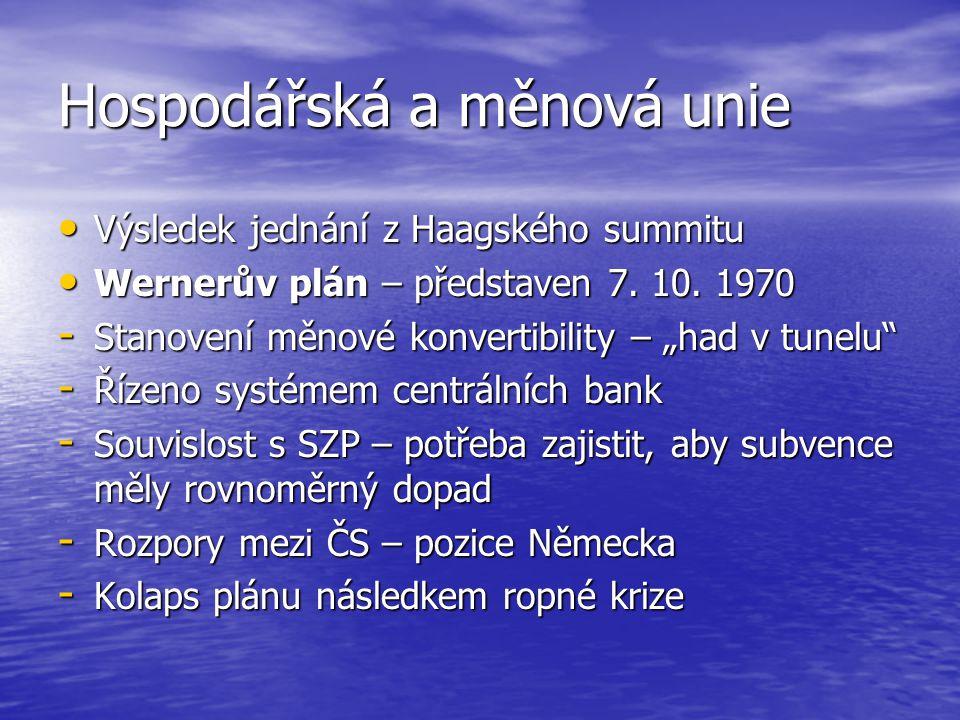 Hospodářská a měnová unie Výsledek jednání z Haagského summitu Výsledek jednání z Haagského summitu Wernerův plán – představen 7. 10. 1970 Wernerův pl