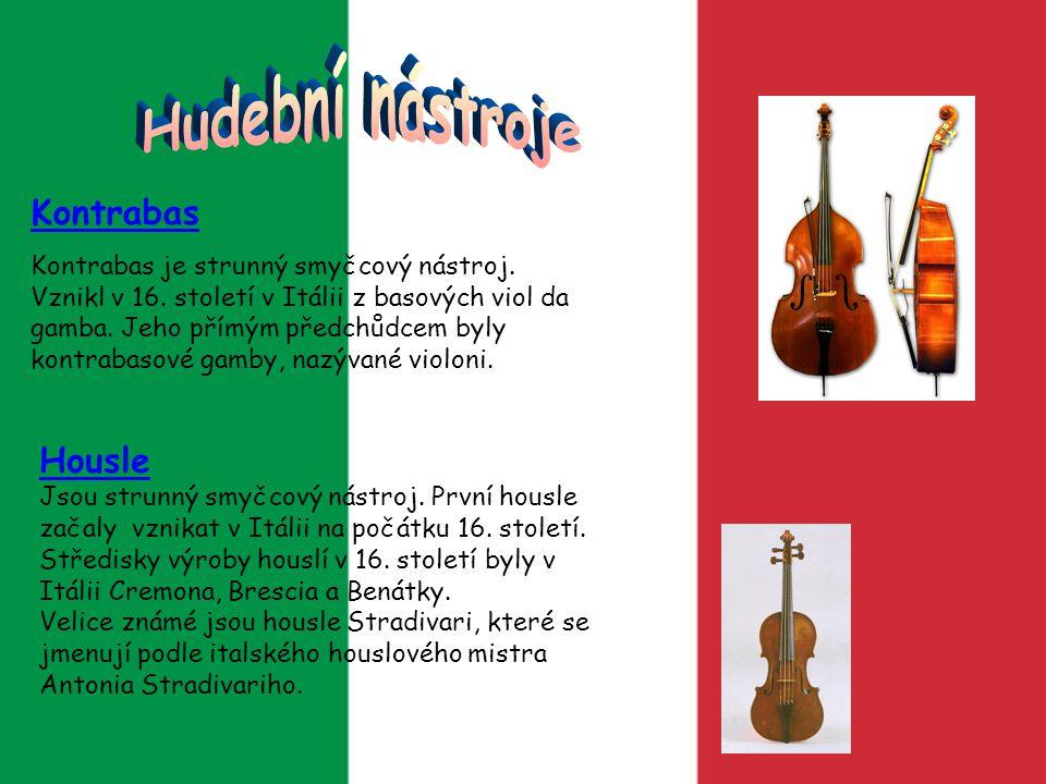 Kontrabas Kontrabas je strunný smyčcový nástroj. Vznikl v 16. století v Itálii z basových viol da gamba. Jeho přímým předchůdcem byly kontrabasové gam