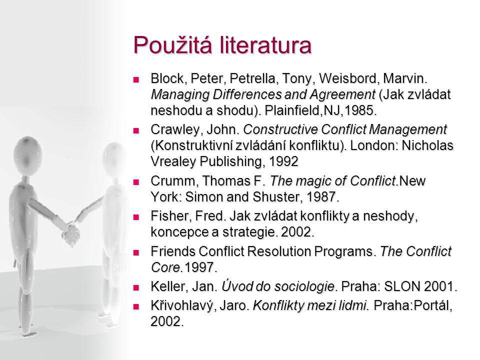 Použitá literatura Block, Peter, Petrella, Tony, Weisbord, Marvin. Managing Differences and Agreement (Jak zvládat neshodu a shodu). Plainfield,NJ,198