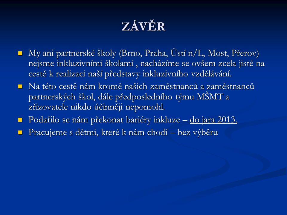 ZÁVĚR My ani partnerské školy (Brno, Praha, Ůstí n/L, Most, Přerov) nejsme inkluzivními školami, nacházíme se ovšem zcela jistě na cestě k realizaci n