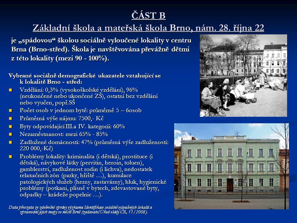 ČÁST B Základní škola a mateřská škola Brno, nám. 28. října 22 Vybrané sociálně demografické ukazatele vztahující se k lokalitě Brno - střed: Vzdělání
