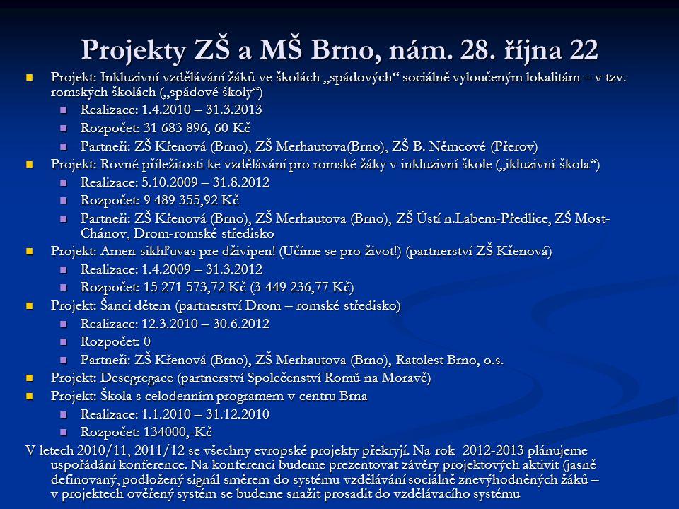 """Projekty ZŠ a MŠ Brno, nám. 28. října 22 Projekt: Inkluzivní vzdělávání žáků ve školách """"spádových"""" sociálně vyloučeným lokalitám – v tzv. romských šk"""