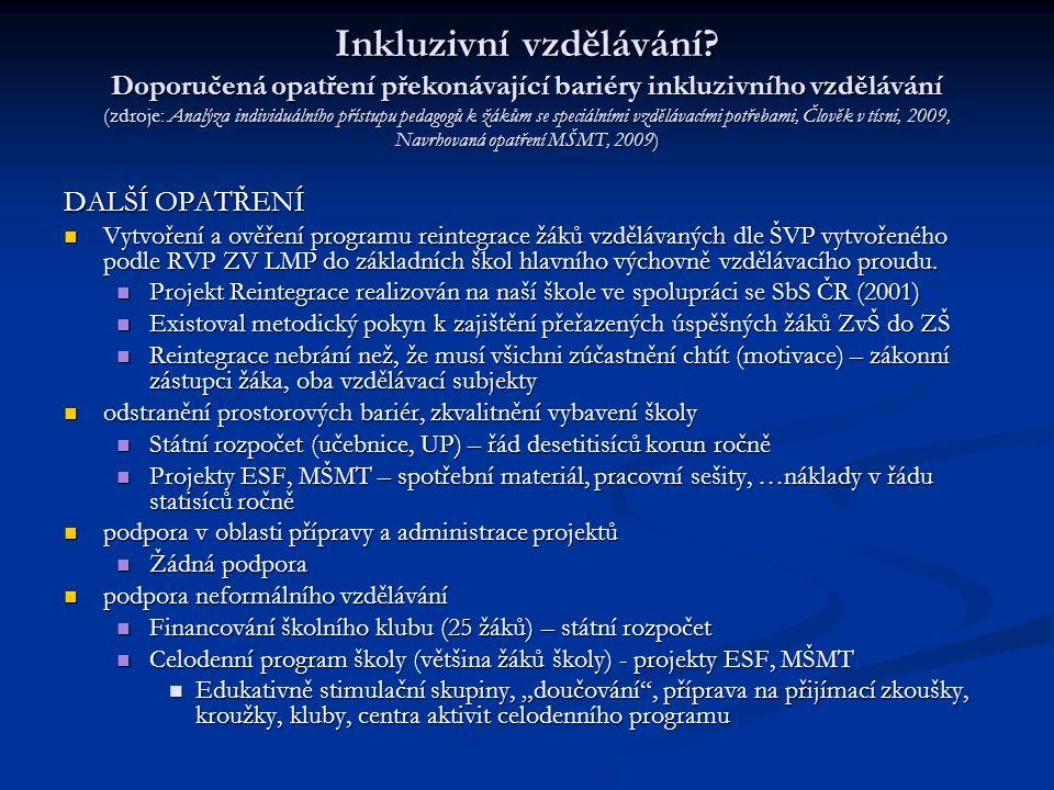 Inkluzivní vzdělávání? Doporučená opatření překonávající bariéry inkluzivního vzdělávání (zdroje: Analýza individuálního přístupu pedagogů k žákům se