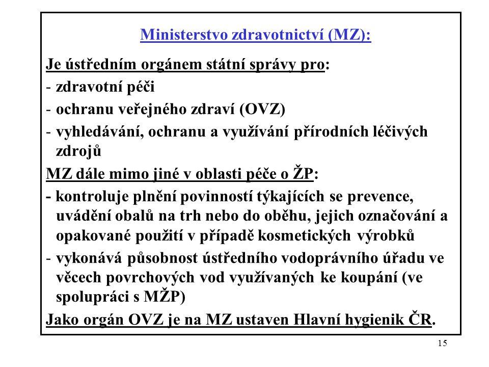 15 Ministerstvo zdravotnictví (MZ): Je ústředním orgánem státní správy pro: -zdravotní péči -ochranu veřejného zdraví (OVZ) -vyhledávání, ochranu a vy