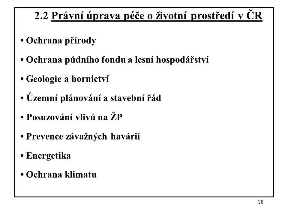 18 2.2 Právní úprava péče o životní prostředí v ČR Ochrana přírody Ochrana půdního fondu a lesní hospodářství Geologie a hornictví Územní plánování a