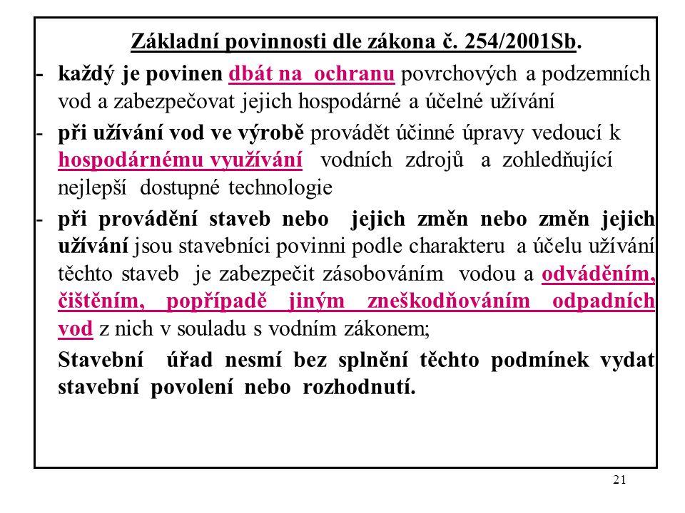 21 Základní povinnosti dle zákona č. 254/2001Sb. - každý je povinen dbát na ochranu povrchových a podzemních vod a zabezpečovat jejich hospodárné a úč