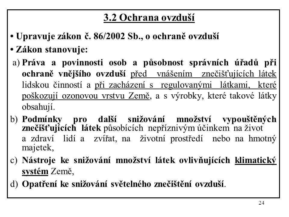 24 3.2 Ochrana ovzduší Upravuje zákon č. 86/2002 Sb., o ochraně ovzduší Zákon stanovuje: a)Práva a povinnosti osob a působnost správních úřadů při och