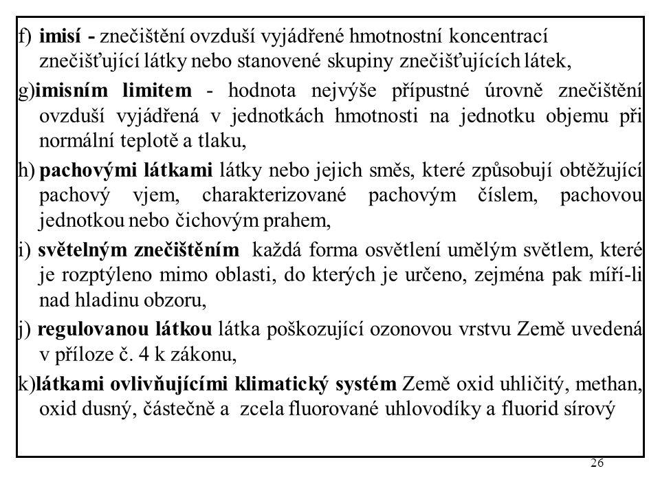 26 f)imisí - znečištění ovzduší vyjádřené hmotnostní koncentrací znečišťující látky nebo stanovené skupiny znečišťujících látek, g)imisním limitem - h