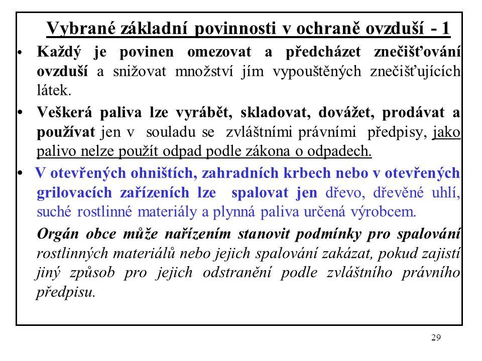 29 Vybrané základní povinnosti v ochraně ovzduší - 1 Každý je povinen omezovat a předcházet znečišťování ovzduší a snižovat množství jím vypouštěných