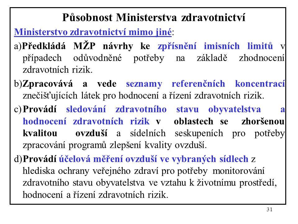 31 Působnost Ministerstva zdravotnictví Ministerstvo zdravotnictví mimo jiné: a)Předkládá MŽP návrhy ke zpřísnění imisních limitů v případech odůvodně