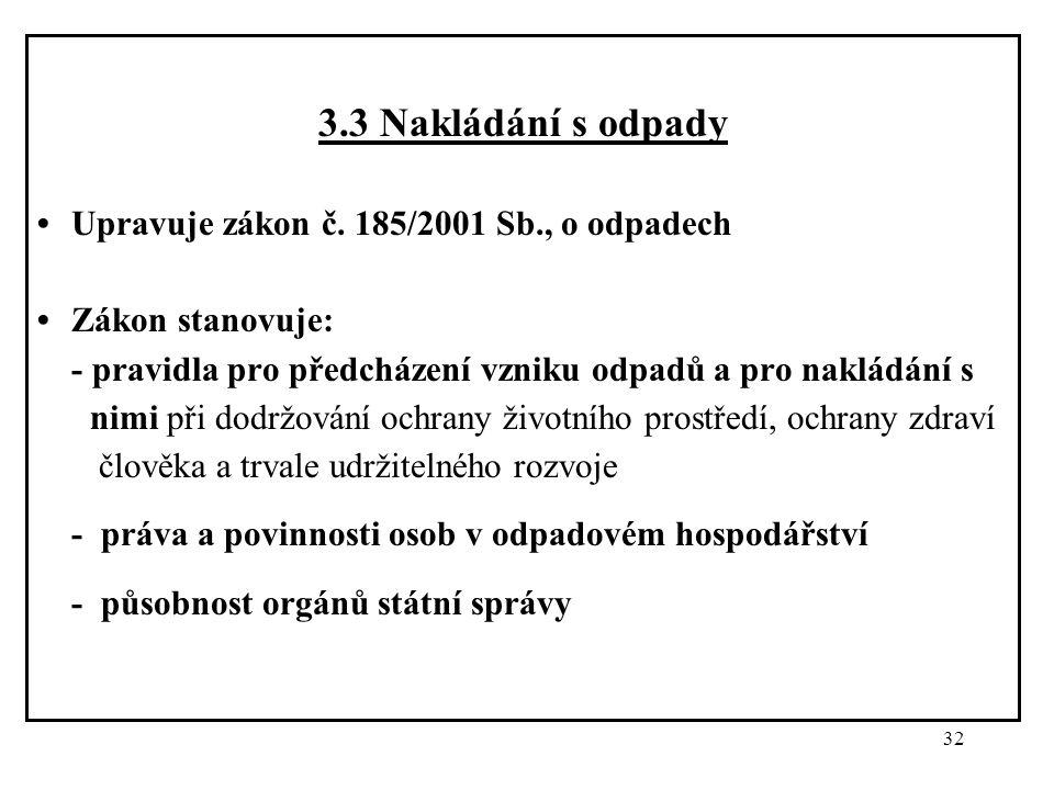 32 3.3 Nakládání s odpady Upravuje zákon č. 185/2001 Sb., o odpadech Zákon stanovuje: - pravidla pro předcházení vzniku odpadů a pro nakládání s nimi