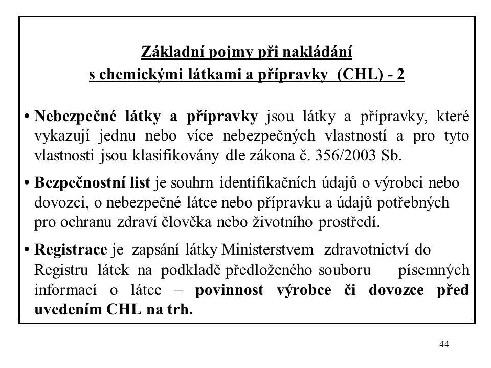 44 Základní pojmy při nakládání s chemickými látkami a přípravky (CHL) - 2 Nebezpečné látky a přípravky jsou látky a přípravky, které vykazují jednu n