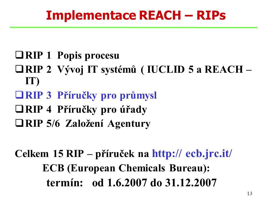 13 Implementace REACH – RIPs  RIP 1 Popis procesu  RIP 2 Vývoj IT systémů ( IUCLID 5 a REACH – IT)  RIP 3 Příručky pro průmysl  RIP 4 Příručky pro